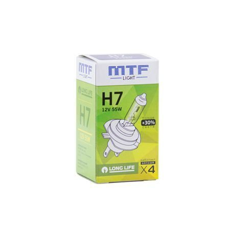 Лампа галоген MTF H7 12/55W  Light Standart+30%  HS1207