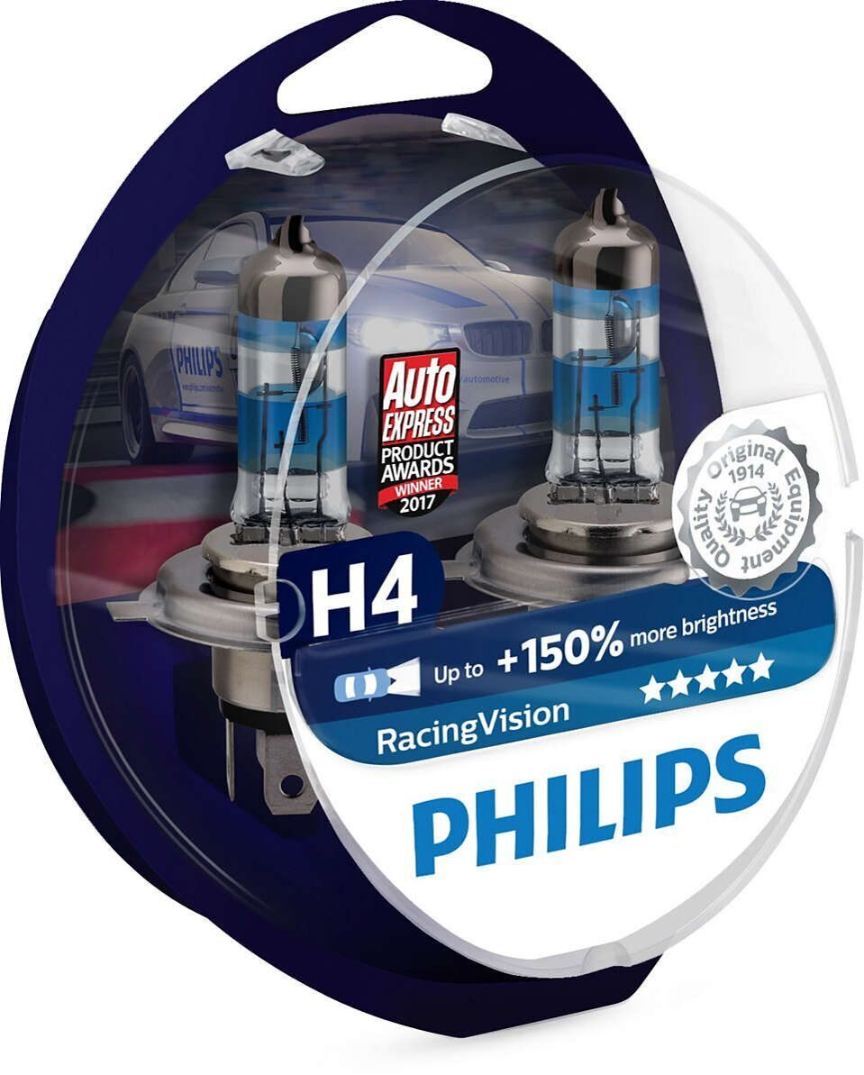 Лампа галоген Philips H4 12v 60/55w Racing Vision + 150% 3500K (2шт)  12342RVS2
